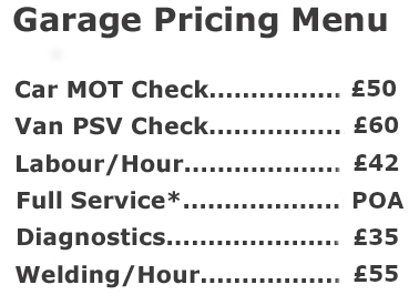 Garage Pricing Structure - All prices include VAT
